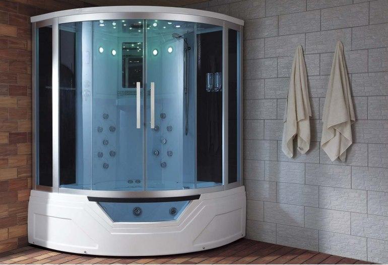 cabine de douche hydromassante avec hammam et baignoire at 012a. Black Bedroom Furniture Sets. Home Design Ideas
